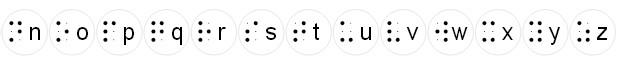 Ecriture blanche 2014 alphabet braille n-z