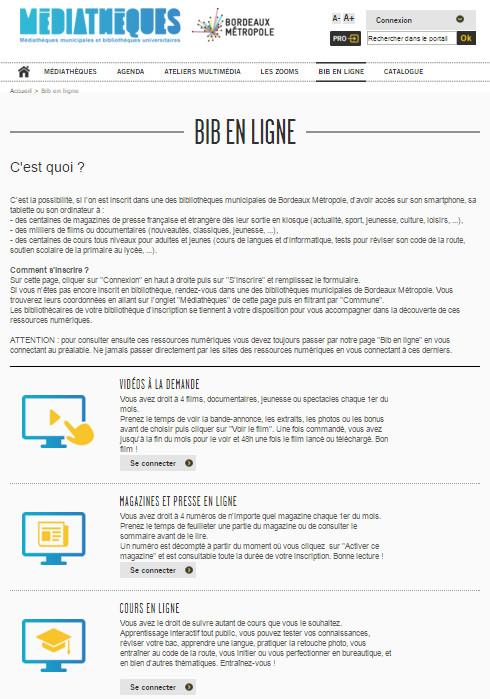 Portail des médiathèques de Bordeaux Métropole - ressources numériques