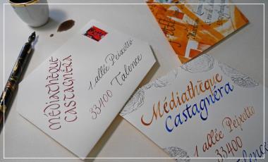 Calligraphie à Talence, enveloppes avec écriture