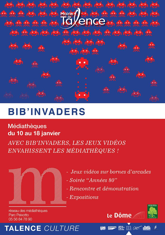 Affiche Bib Invaders Talence janvier 2014